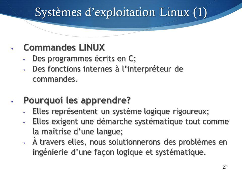 Systèmes dexploitation Linux (1) Commandes LINUX Commandes LINUX Des programmes écrits en C; Des programmes écrits en C; Des fonctions internes à linterpréteur de commandes.
