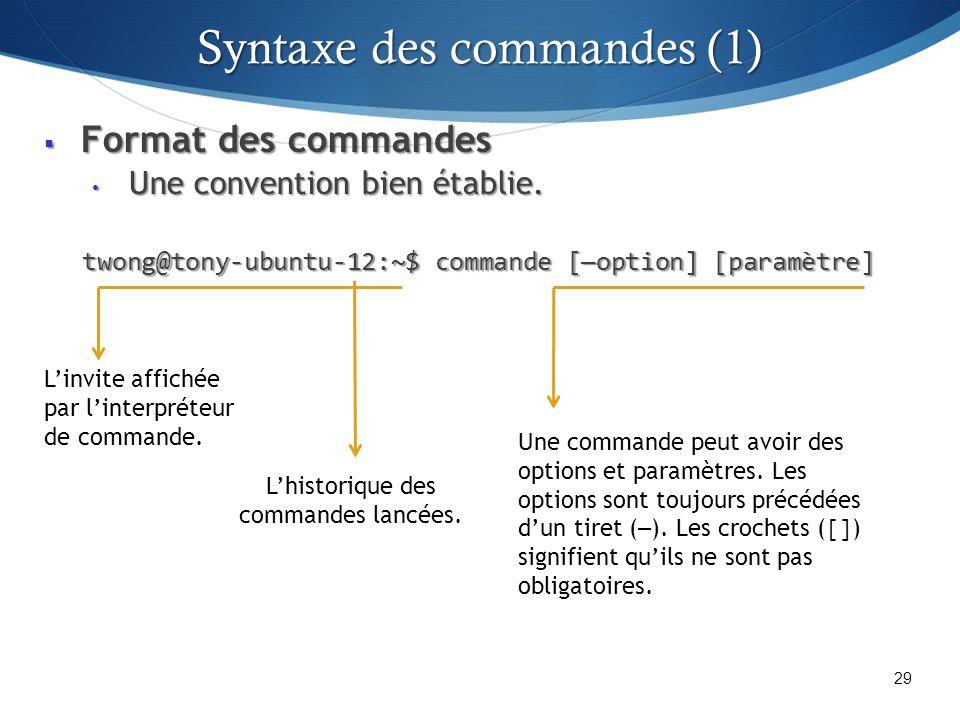 Format des commandes Format des commandes Une convention bien établie.