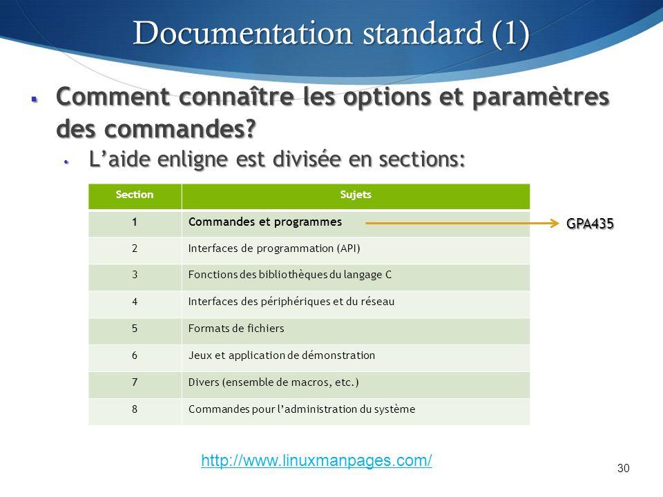 Comment connaître les options et paramètres des commandes? Comment connaître les options et paramètres des commandes? Laide enligne est divisée en sec