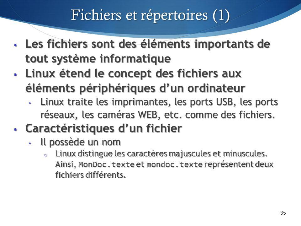 Les fichiers sont des éléments importants de tout système informatique Les fichiers sont des éléments importants de tout système informatique Linux étend le concept des fichiers aux éléments périphériques dun ordinateur Linux étend le concept des fichiers aux éléments périphériques dun ordinateur Linux traite les imprimantes, les ports USB, les ports réseaux, les caméras WEB, etc.