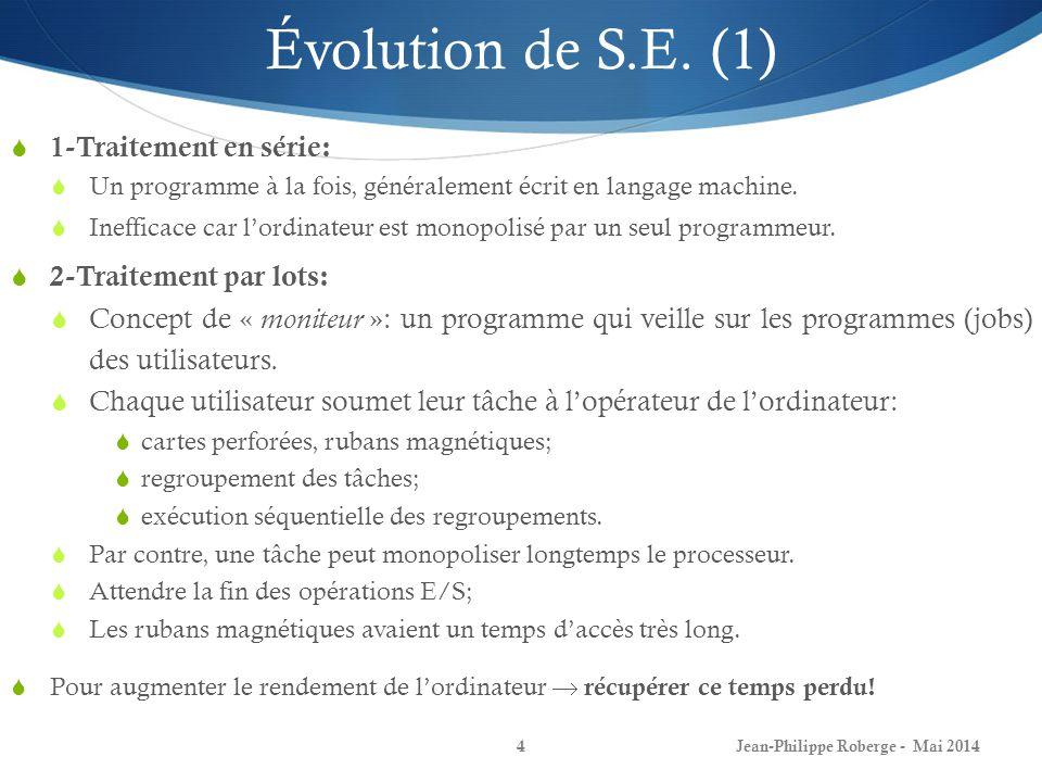 Jean-Philippe Roberge - Mai 20144 Évolution de S.E. (1) 1-Traitement en série: Un programme à la fois, généralement écrit en langage machine. Ineffica