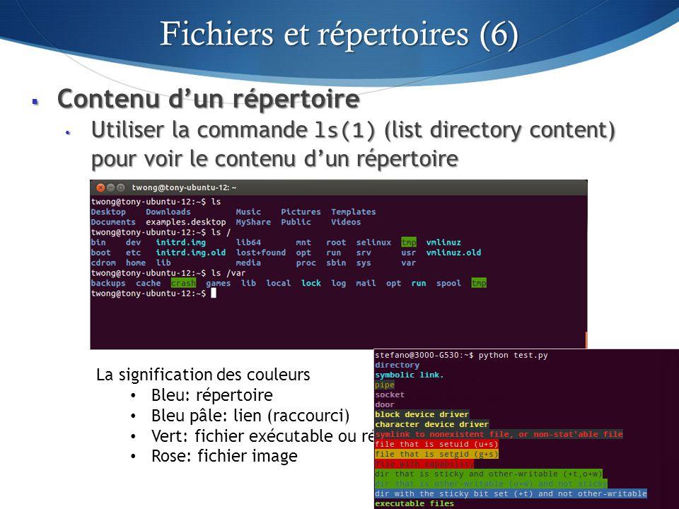 Contenu dun répertoire Contenu dun répertoire Utiliser la commande ls(1) (list directory content) pour voir le contenu dun répertoire Utiliser la commande ls(1) (list directory content) pour voir le contenu dun répertoire 40 La signification des couleurs Bleu: répertoire Bleu pâle: lien (raccourci) Vert: fichier exécutable ou répertoire standard Rose: fichier image Note: Ces couleurs sont générées par loption --color de la commande ls.