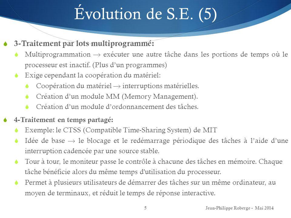 Jean-Philippe Roberge - Mai 20145 Évolution de S.E. (5) 3-Traitement par lots multiprogrammé: Multiprogrammation exécuter une autre tâche dans les por