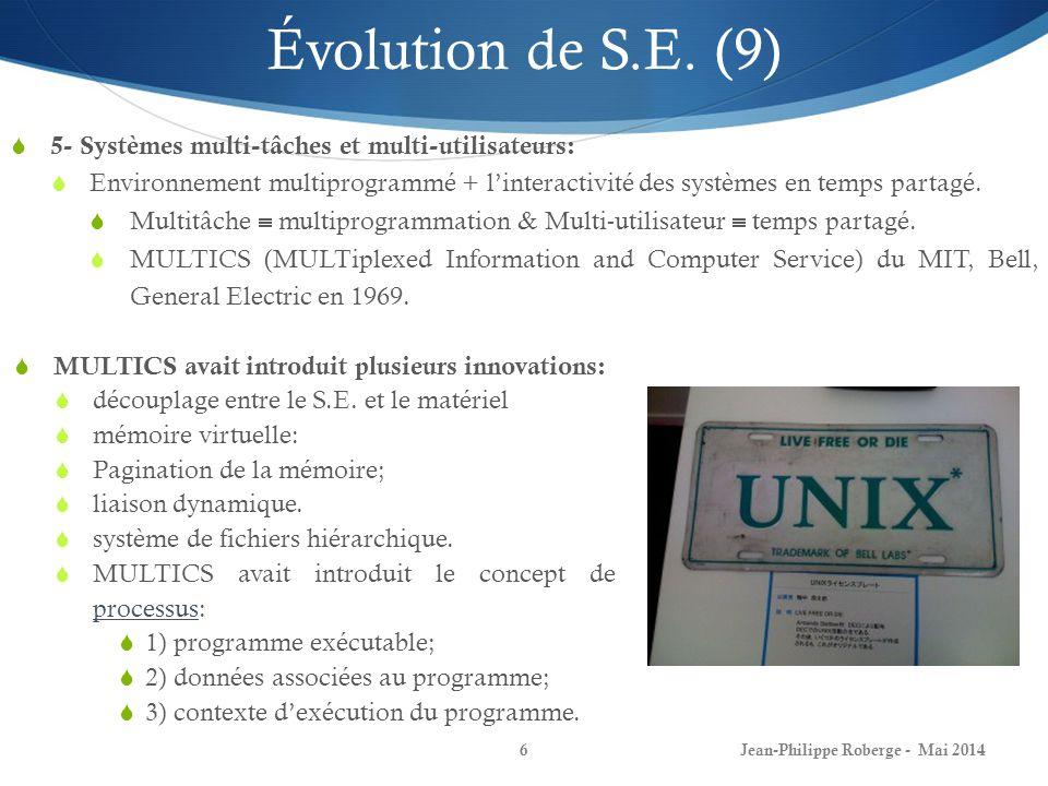 Jean-Philippe Roberge - Mai 20146 Évolution de S.E. (9) 5- Systèmes multi-tâches et multi-utilisateurs: Environnement multiprogrammé + linteractivité