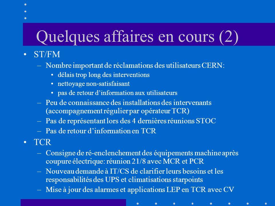 Quelques affaires en cours (2) ST/FM –Nombre important de réclamations des utilisateurs CERN: délais trop long des interventions nettoyage non-satisfa