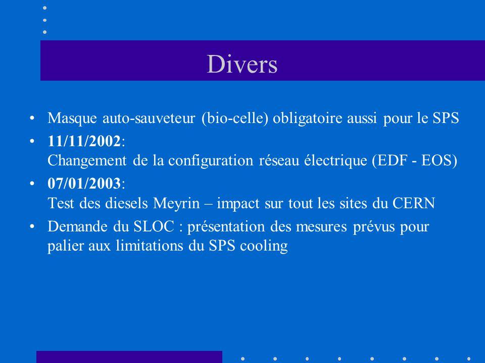 Divers Masque auto-sauveteur (bio-celle) obligatoire aussi pour le SPS 11/11/2002: Changement de la configuration réseau électrique (EDF - EOS) 07/01/