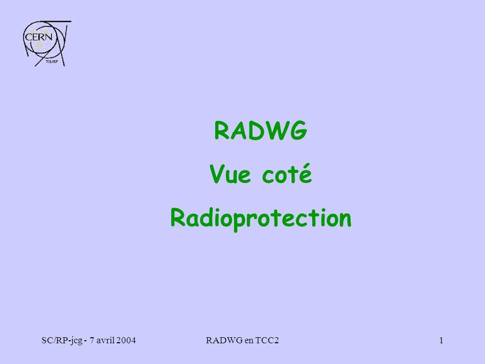 SC/RP-jcg - 7 avril 2004RADWG en TCC22 Présentation du TCC2 En opération depuis 1978 Zone qui comprend 3 boîtes à cibles : T2, T4 et T6 pour les expériences dans les halls EHN1, EHN2 et ECN3 Zone de haute radioactivité avec des secteurs où les débits de dose ambiants sont supérieurs à 2 mSv/h plusieurs jours après larrêt des faisceaux En 2003 lintensité sur les cibles a été de 1·E17 protons à 450 GeV et de 1,4·E14 ions