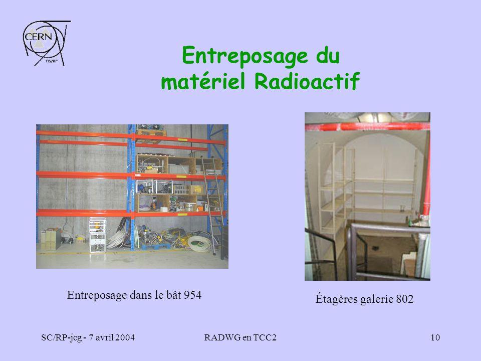 SC/RP-jcg - 7 avril 2004RADWG en TCC210 Entreposage du matériel Radioactif Étagères galerie 802 Entreposage dans le bât 954
