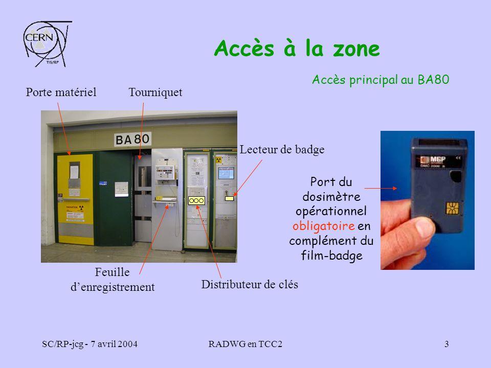 SC/RP-jcg - 7 avril 2004RADWG en TCC23 Accès à la zone Accès principal au BA80 Porte matérielTourniquet Feuille denregistrement Distributeur de clés L