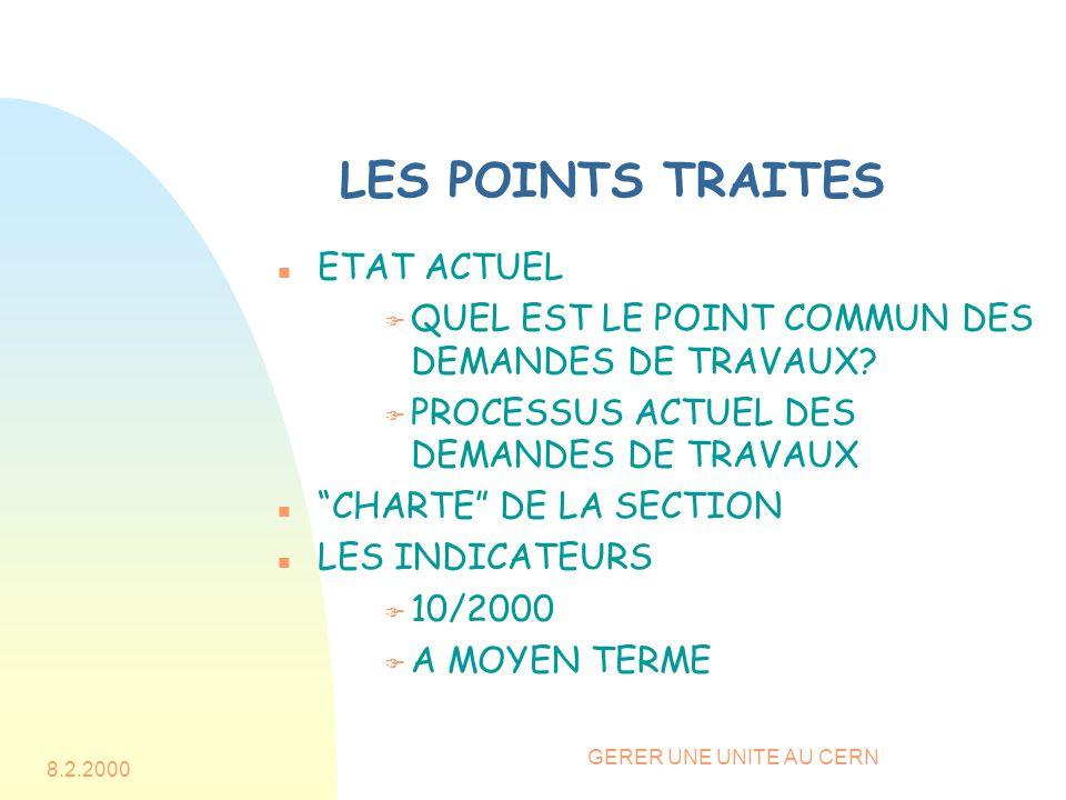 8.2.2000 GERER UNE UNITE AU CERN LES POINTS TRAITES n ETAT ACTUEL F QUEL EST LE POINT COMMUN DES DEMANDES DE TRAVAUX? F PROCESSUS ACTUEL DES DEMANDES
