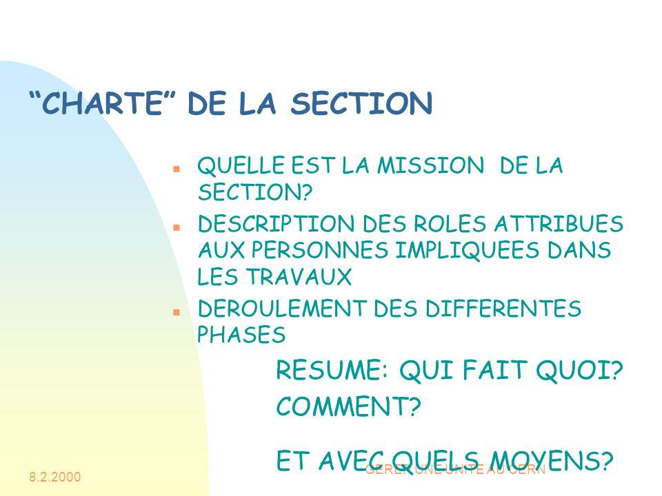 8.2.2000 GERER UNE UNITE AU CERN CHARTE DE LA SECTION n QUELLE EST LA MISSION DE LA SECTION.