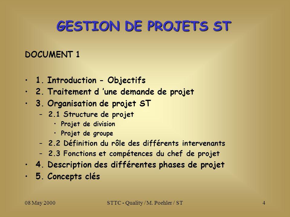 08 May 2000STTC - Quality / M. Poehler / ST4 DOCUMENT 1 1. Introduction - Objectifs 2. Traitement d une demande de projet 3. Organisation de projet ST