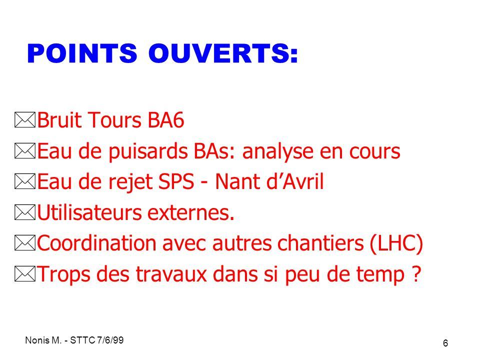 Nonis M. - STTC 7/6/99 6 POINTS OUVERTS: *Bruit Tours BA6 *Eau de puisards BAs: analyse en cours *Eau de rejet SPS - Nant dAvril *Utilisateurs externe