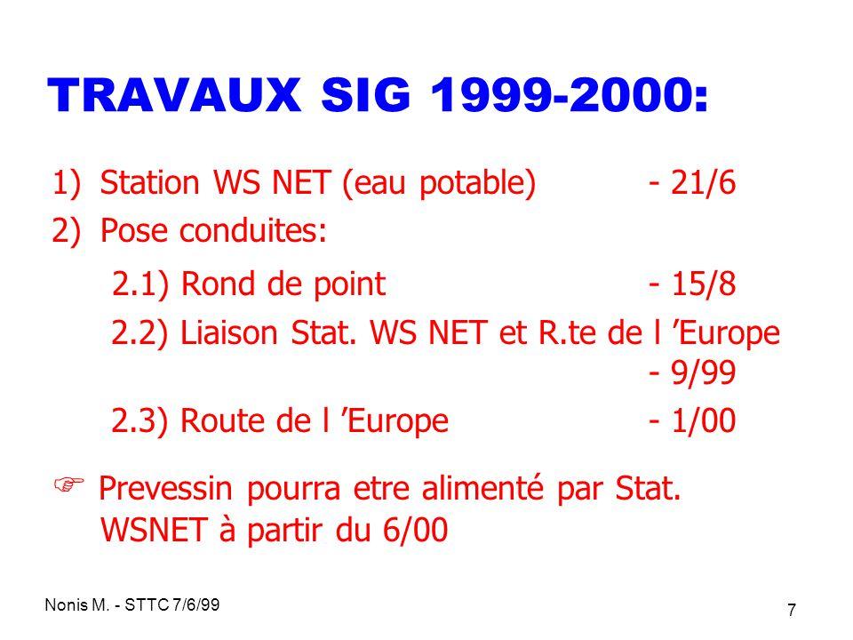 Nonis M. - STTC 7/6/99 7 TRAVAUX SIG 1999-2000: 1)Station WS NET (eau potable) - 21/6 2)Pose conduites: 2.1) Rond de point - 15/8 2.2) Liaison Stat. W
