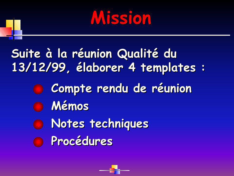 Mission Mémos Suite à la réunion Qualité du 13/12/99, élaborer 4 templates : Procédures Compte rendu de réunion Notes techniques
