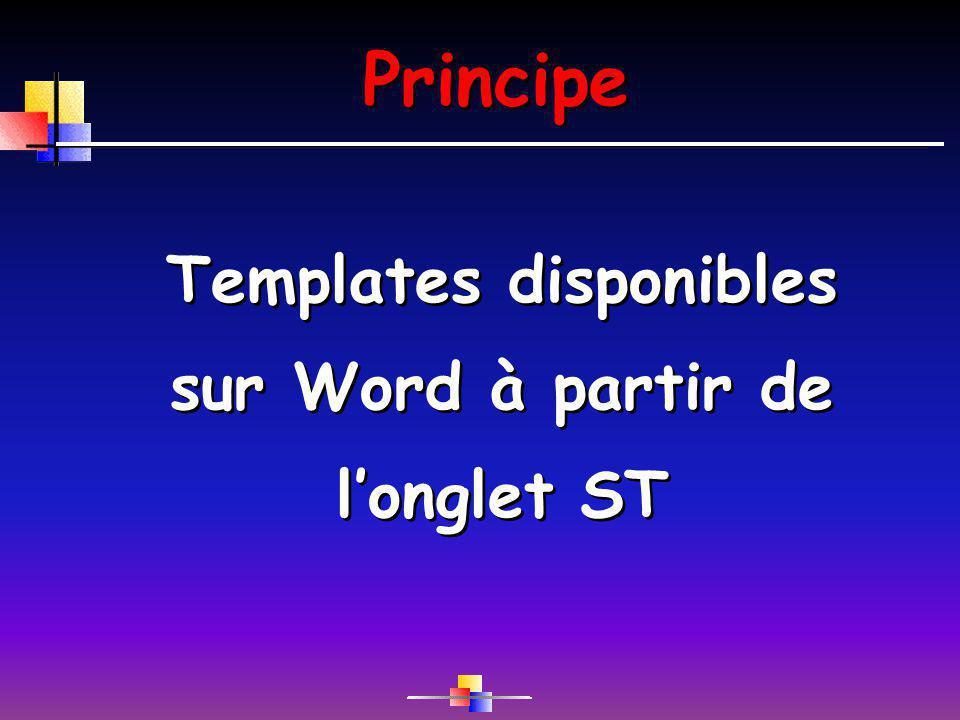 Principe Templates disponibles sur Word à partir de longlet ST
