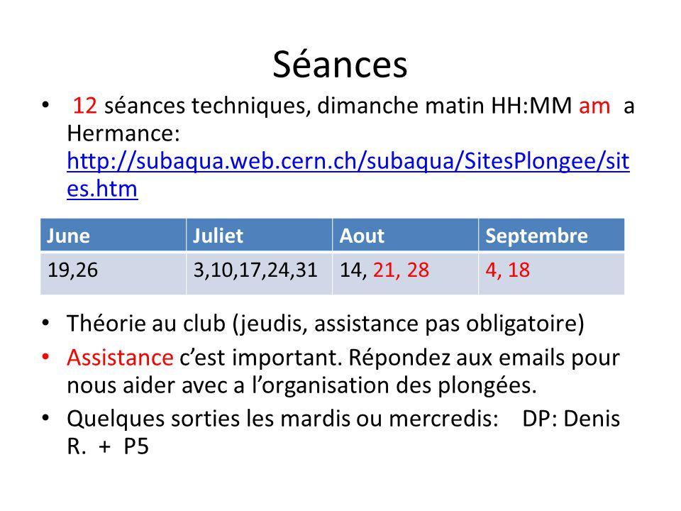 Séances 12 séances techniques, dimanche matin HH:MM am a Hermance: http://subaqua.web.cern.ch/subaqua/SitesPlongee/sit es.htm http://subaqua.web.cern.
