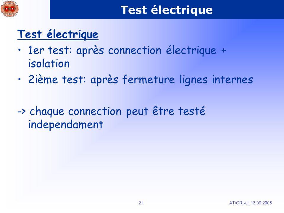 AT/CRI-ci, 13.09.200621 Test électrique 1er test: après connection électrique + isolation 2ième test: après fermeture lignes internes -> chaque connection peut être testé independament