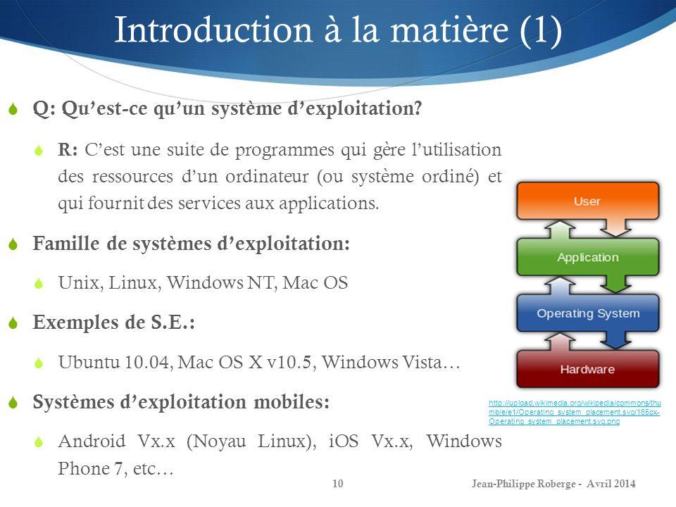 Jean-Philippe Roberge - Avril 201410 Introduction à la matière (1) Q: Quest-ce quun système dexploitation? R: Cest une suite de programmes qui gère lu