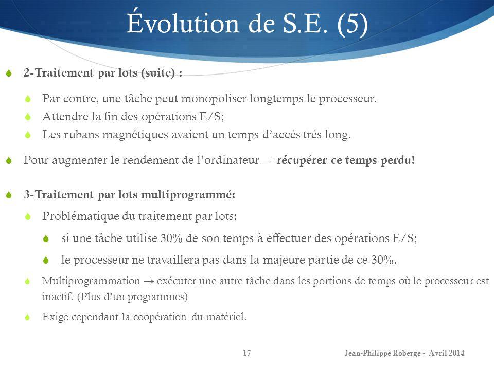 Jean-Philippe Roberge - Avril 201417 Évolution de S.E. (5) 2-Traitement par lots (suite) : Par contre, une tâche peut monopoliser longtemps le process