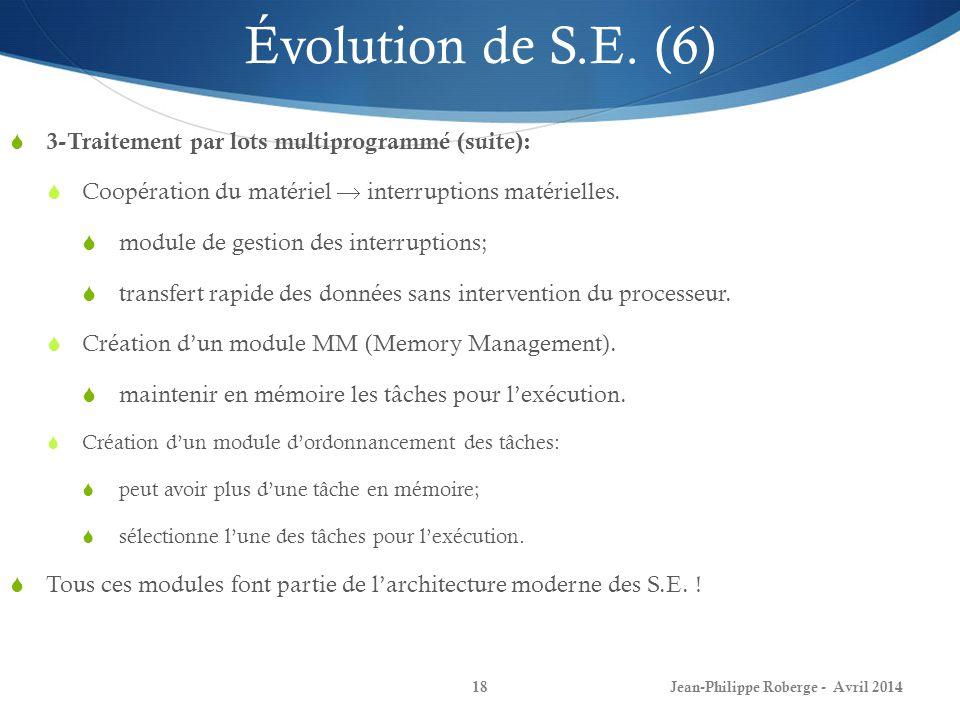 Jean-Philippe Roberge - Avril 201418 Évolution de S.E. (6) 3-Traitement par lots multiprogrammé (suite): Coopération du matériel interruptions matérie