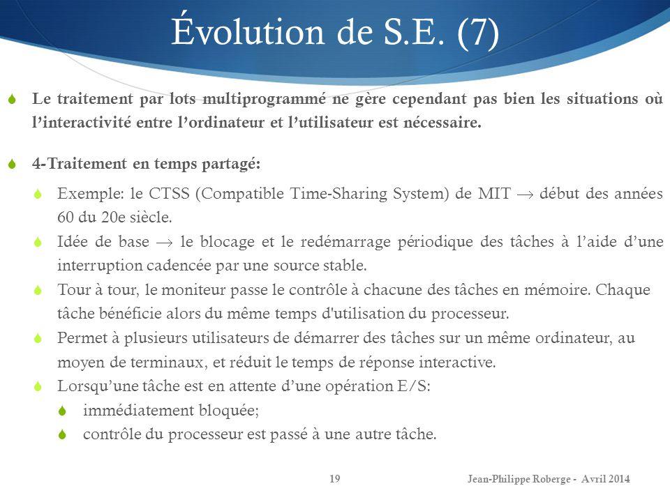 Jean-Philippe Roberge - Avril 201419 Évolution de S.E. (7) Le traitement par lots multiprogrammé ne gère cependant pas bien les situations où linterac