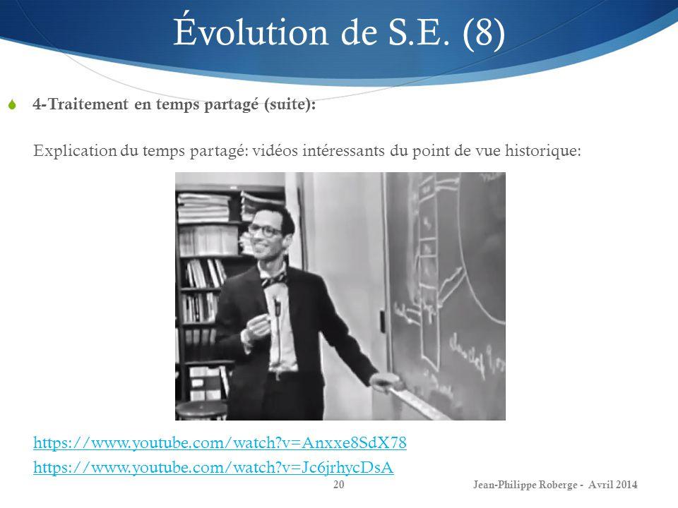 Jean-Philippe Roberge - Avril 201420 Évolution de S.E. (8) 4-Traitement en temps partagé (suite): Explication du temps partagé: vidéos intéressants du