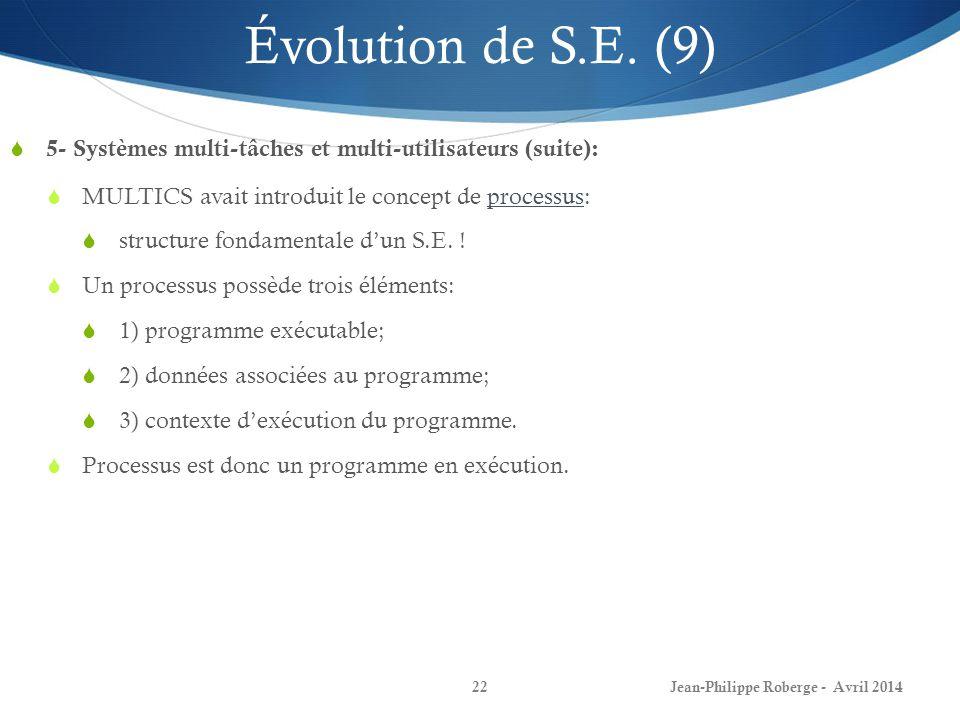 Jean-Philippe Roberge - Avril 201422 Évolution de S.E. (9) 5- Systèmes multi-tâches et multi-utilisateurs (suite): MULTICS avait introduit le concept