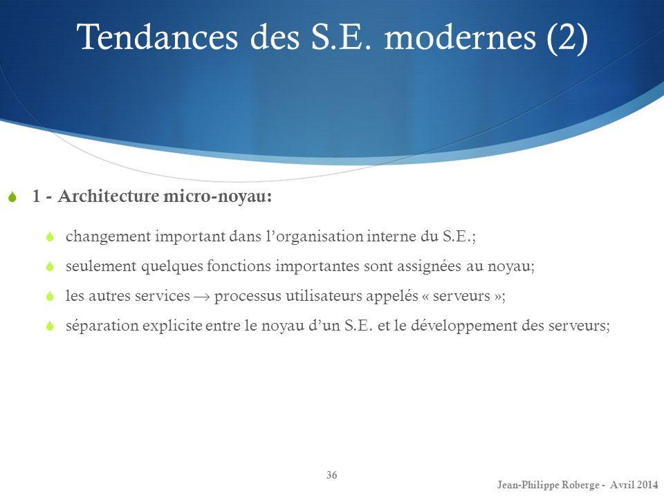 36 1 - Architecture micro-noyau: changement important dans lorganisation interne du S.E.; seulement quelques fonctions importantes sont assignées au n