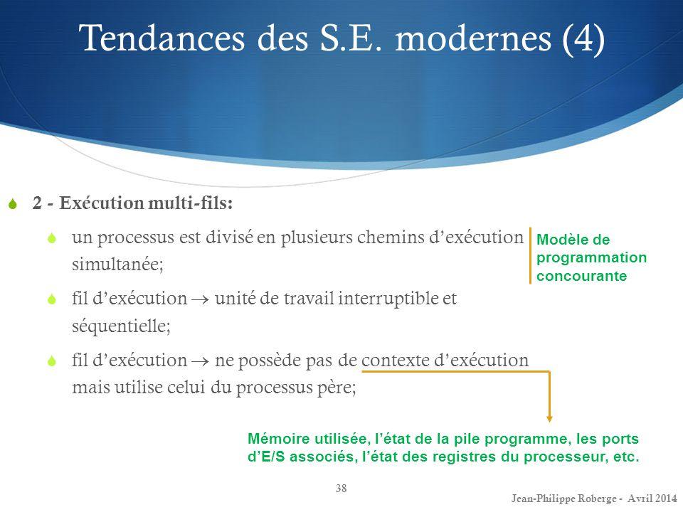 38 2 - Exécution multi-fils: un processus est divisé en plusieurs chemins dexécution simultanée; fil dexécution unité de travail interruptible et séqu
