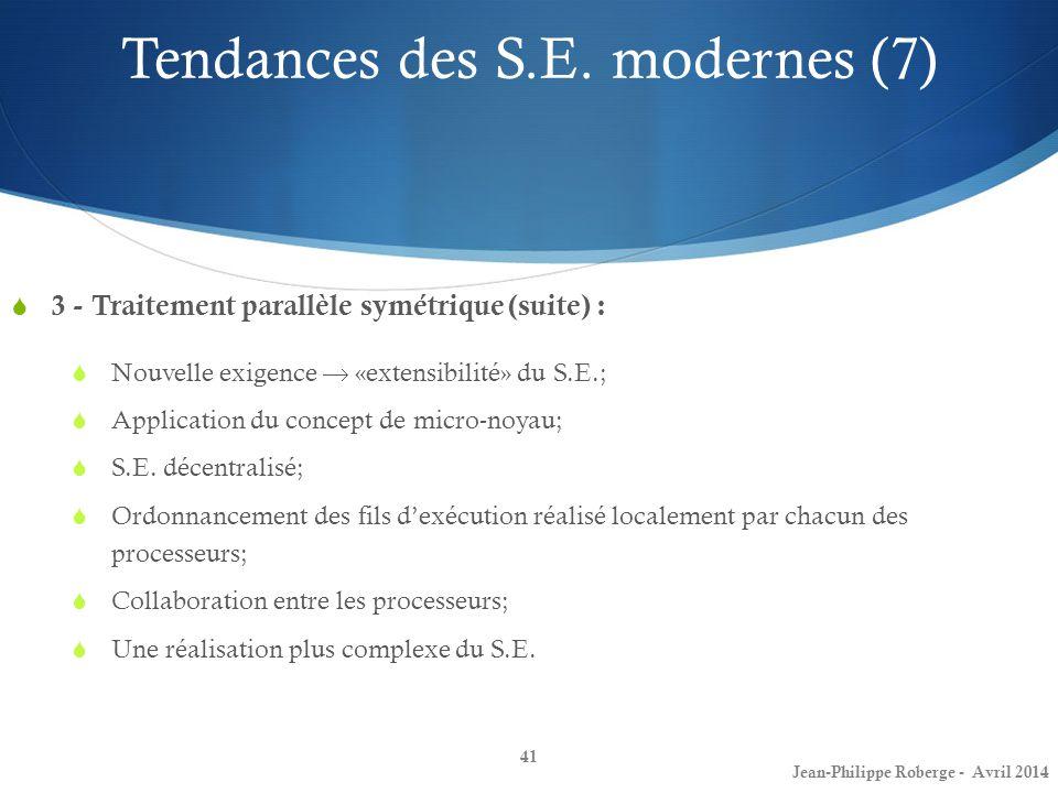 41 3 - Traitement parallèle symétrique (suite) : Nouvelle exigence «extensibilité» du S.E.; Application du concept de micro-noyau; S.E. décentralisé;