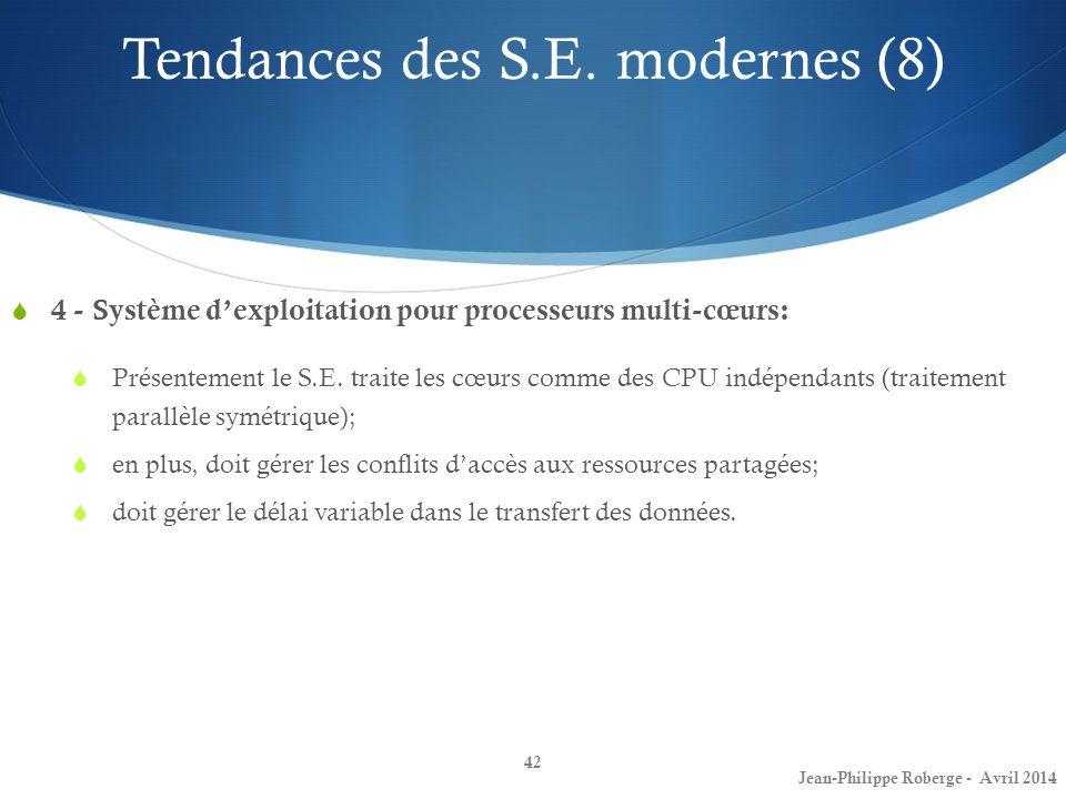 42 4 - Système dexploitation pour processeurs multi-cœurs: Présentement le S.E. traite les cœurs comme des CPU indépendants (traitement parallèle symé
