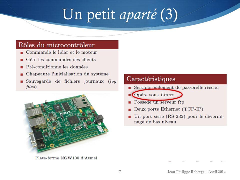 Structure des systèmes dexploitation modernes (6) Jean-Philippe Roberge - Avril 201428 4- Communication inter-processus Trois points importants:
