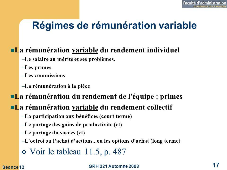 GRH 221 Automne 2008 17 Séance 12 Régimes de rémunération variable Voir le tableau 11.5, p.