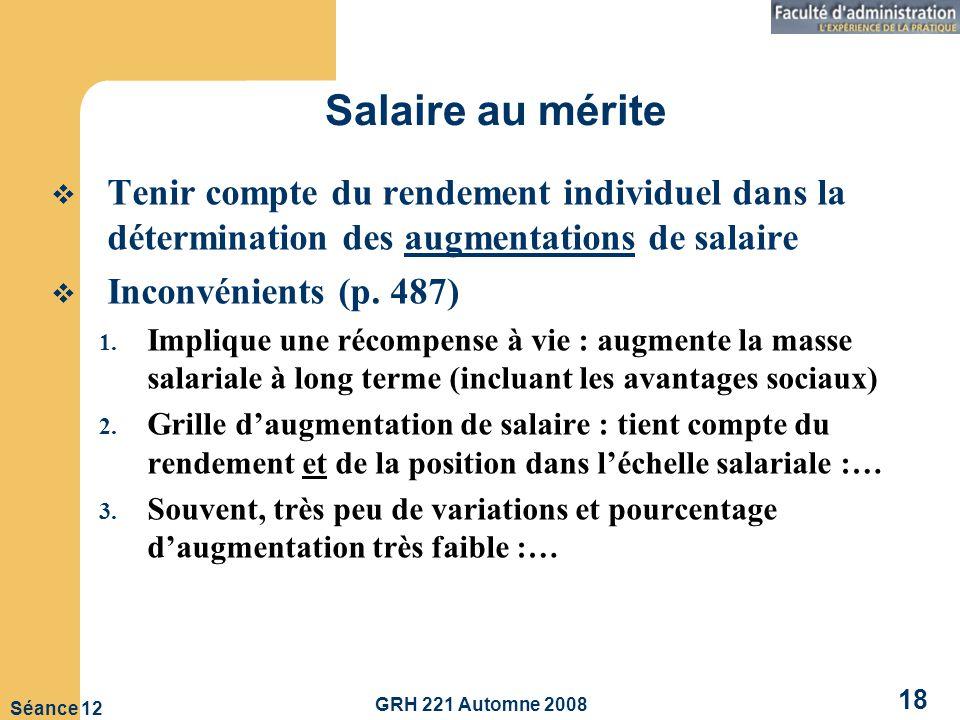 GRH 221 Automne 2008 18 Séance 12 Salaire au mérite Tenir compte du rendement individuel dans la détermination des augmentations de salaire Inconvénients (p.