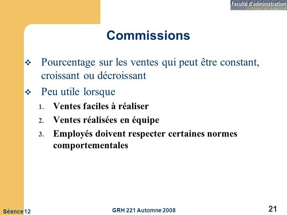 GRH 221 Automne 2008 21 Séance 12 Commissions Pourcentage sur les ventes qui peut être constant, croissant ou décroissant Peu utile lorsque 1.