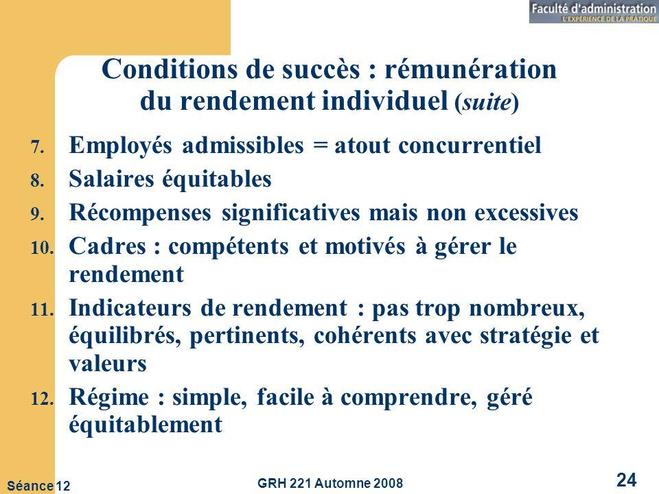 GRH 221 Automne 2008 24 Séance 12 Conditions de succès : rémunération du rendement individuel (suite) 7.