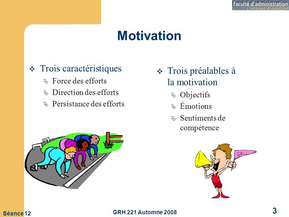 GRH 221 Automne 2008 3 Séance 12 Motivation Trois caractéristiques Force des efforts Direction des efforts Persistance des efforts Trois préalables à la motivation Objectifs Émotions Sentiments de compétence