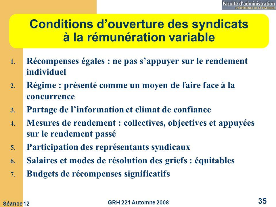 GRH 221 Automne 2008 35 Séance 12 Conditions douverture des syndicats à la rémunération variable 1.