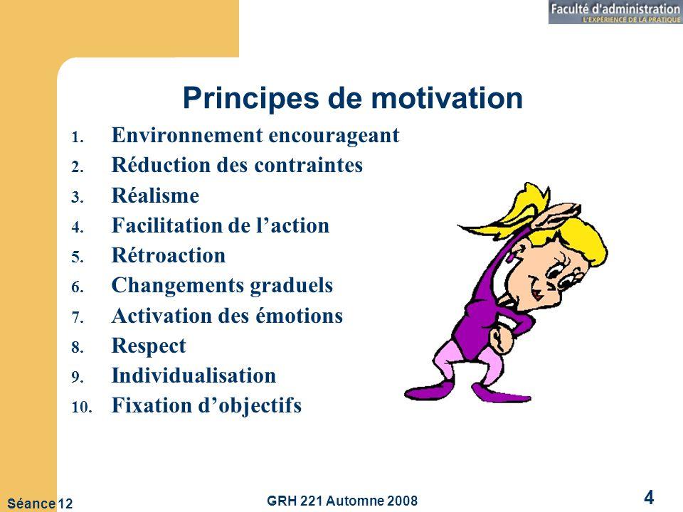 GRH 221 Automne 2008 4 Séance 12 Principes de motivation 1.