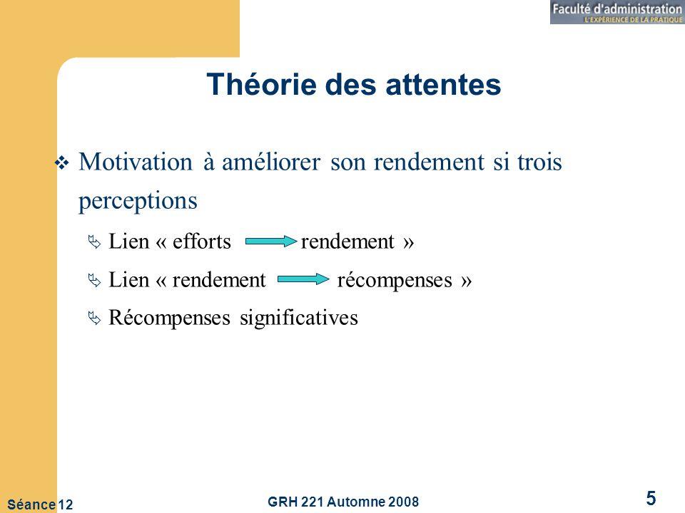 GRH 221 Automne 2008 5 Séance 12 Théorie des attentes Motivation à améliorer son rendement si trois perceptions Lien « efforts rendement » Lien « rendement récompenses » Récompenses significatives