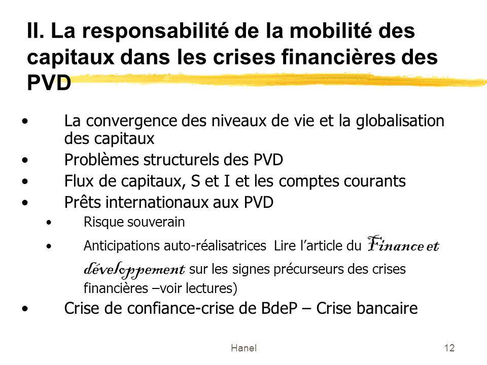 Hanel12 II. La responsabilité de la mobilité des capitaux dans les crises financières des PVD La convergence des niveaux de vie et la globalisation de