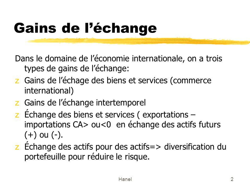 Hanel2 Gains de léchange Dans le domaine de léconomie internationale, on a trois types de gains de léchange: zGains de léchage des biens et services (