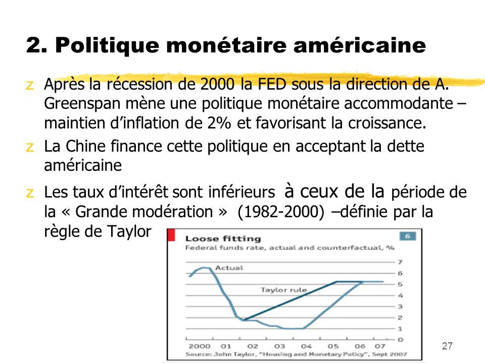 Hanel27 2. Politique monétaire américaine zAprès la récession de 2000 la FED sous la direction de A. Greenspan mène une politique monétaire accommodan