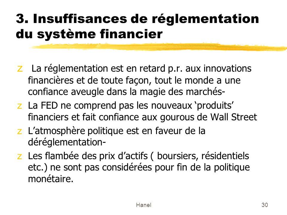 Hanel30 3. Insuffisances de réglementation du système financier z La réglementation est en retard p.r. aux innovations financières et de toute façon,