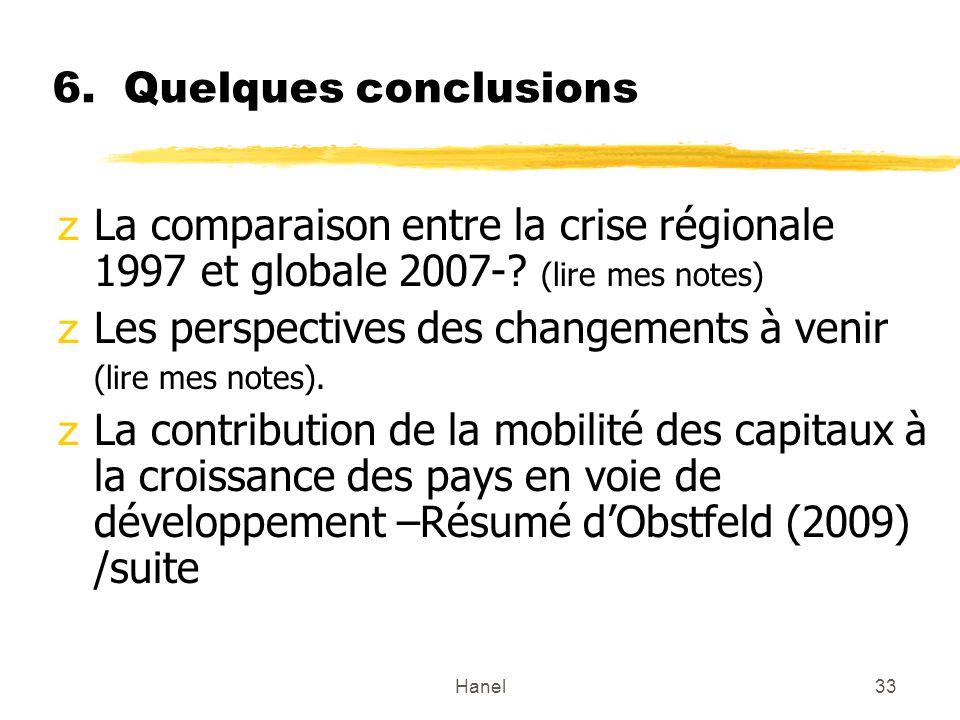 Hanel33 6. Quelques conclusions zLa comparaison entre la crise régionale 1997 et globale 2007-? (lire mes notes) zLes perspectives des changements à v