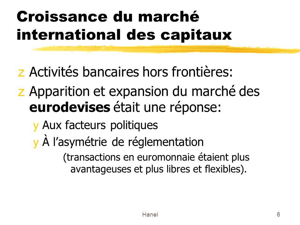 Hanel6 Croissance du marché international des capitaux zActivités bancaires hors frontières: zApparition et expansion du marché des eurodevises était