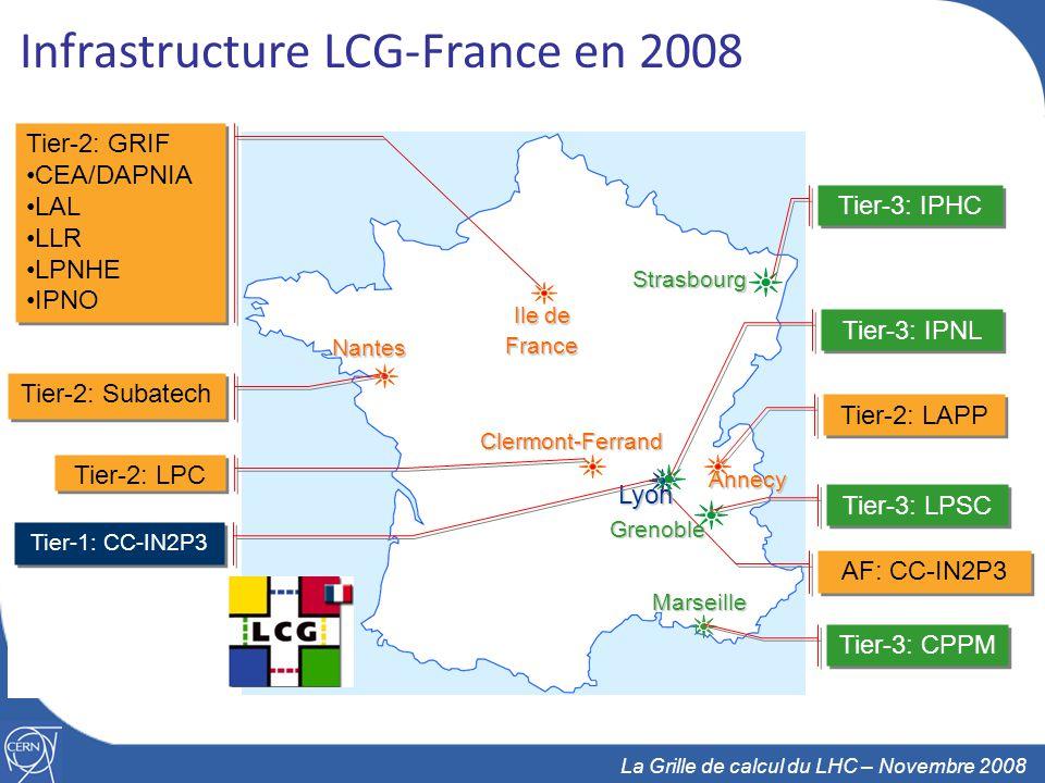11 La Grille de calcul du LHC – Novembre 2008 Infrastructure LCG-France en 2008 Tier-2: LPC AF: CC-IN2P3 Tier-2: LAPP Tier-3: IPHC Lyon Clermont-Ferrand Ile de France Marseille Nantes Strasbourg Annecy Tier-3: IPNL Tier-3: CPPM Tier-2: Subatech Tier-2: GRIF CEA/DAPNIA LAL LLR LPNHE IPNO Tier-2: GRIF CEA/DAPNIA LAL LLR LPNHE IPNO Tier-1: CC-IN2P3 Grenoble Tier-3: LPSC