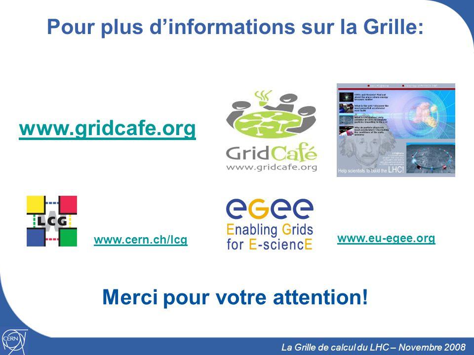 31 La Grille de calcul du LHC – Novembre 2008 Pour plus dinformations sur la Grille: www.gridcafe.org Merci pour votre attention.