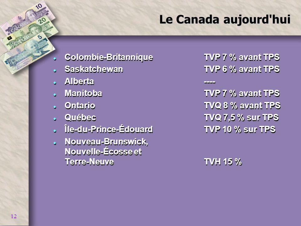 12 Le Canada aujourd'hui l Colombie-Britannique TVP 7 % avant TPS l Saskatchewan TVP 6 % avant TPS l Alberta---- l ManitobaTVP 7 % avant TPS l Ontario